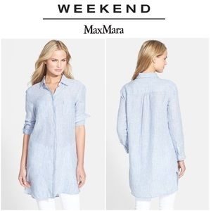 NWOT Weekend MaxMara Woven Striped Linen Shirt